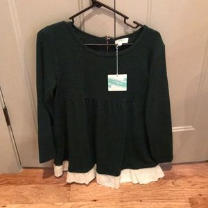 Sweater tunic lace trim bottom